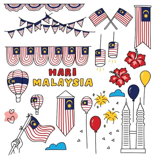 Jour de l'indépendance de la malaisie élément de design dans le style doodle Vecteur Premium