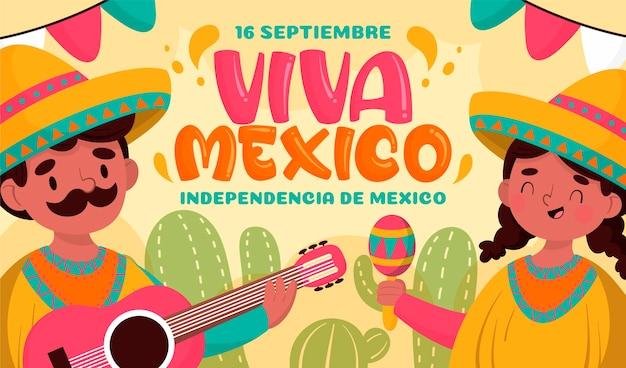 Jour De L'indépendance Mexicaine Dessiné à La Main Vecteur Premium
