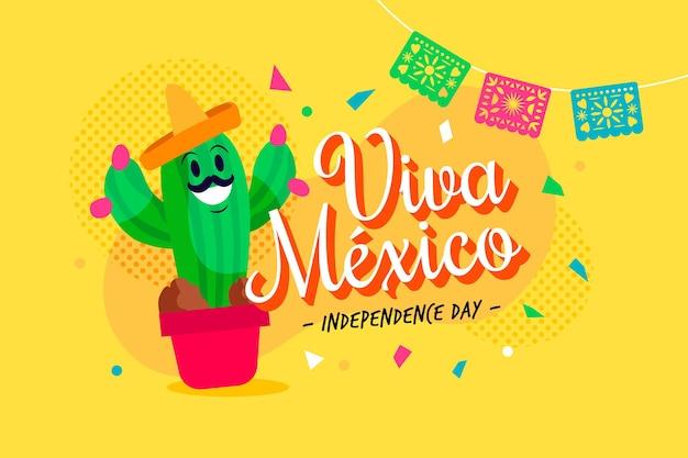 Jour De L'indépendance Plat Au Mexique Vecteur gratuit
