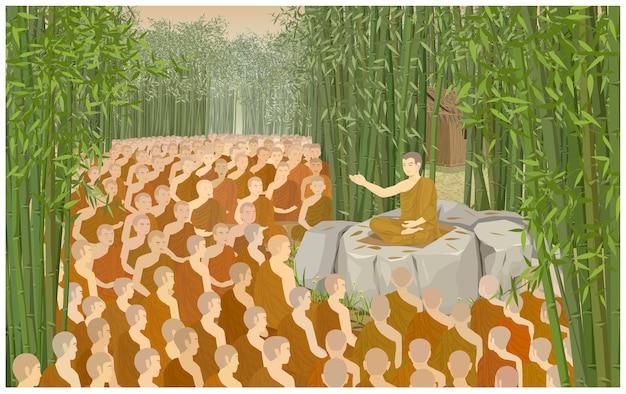 Le jour de makha bucha est un jour important pour les bouddhistes. Vecteur Premium