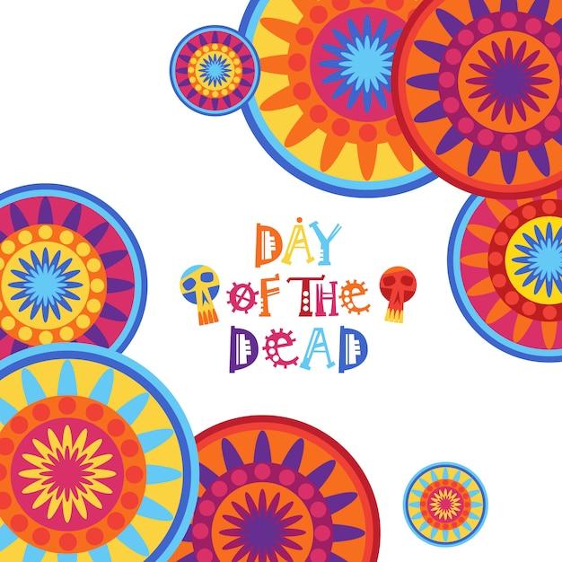 Jour de la mort mexicaine traditionnelle halloween dia de los muertos décoration de fête décoration de bannière invitation Vecteur Premium