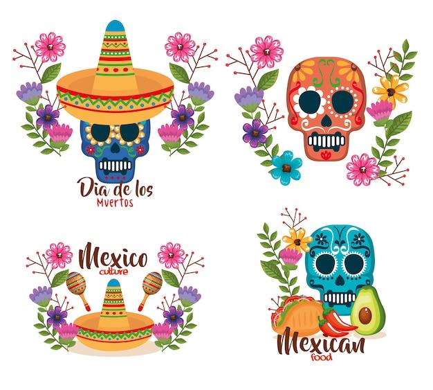 Jour des morts masques à décor floral Vecteur Premium