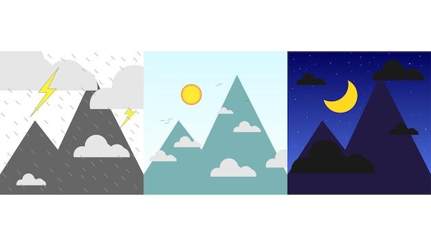 Jour de la nuit et la tempête ensemble minimal Vecteur Premium