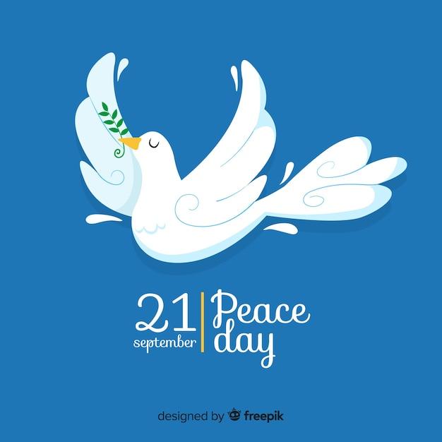Jour de paix design plat avec colombe Vecteur gratuit