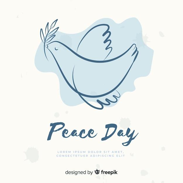 Jour de la paix a dessiné la colombe Vecteur gratuit