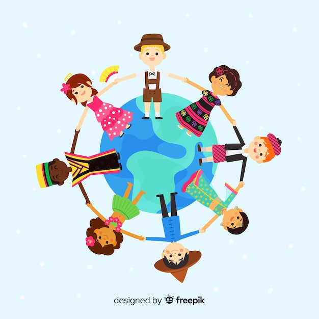 Jour De Paix Dessiné à La Main Avec Des Enfants Vecteur gratuit