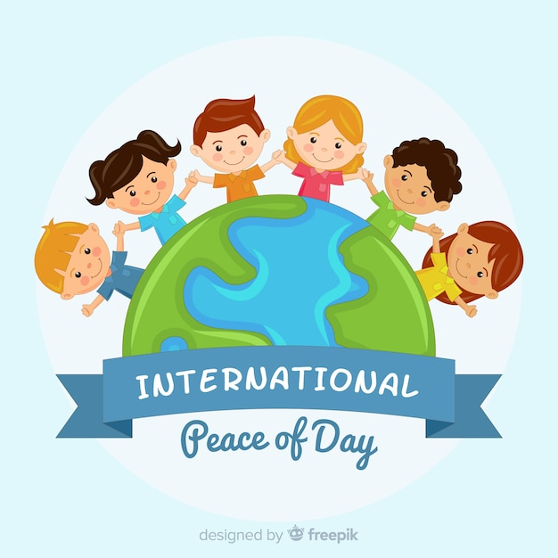 Jour de paix avec des enfants se tenant la main Vecteur gratuit