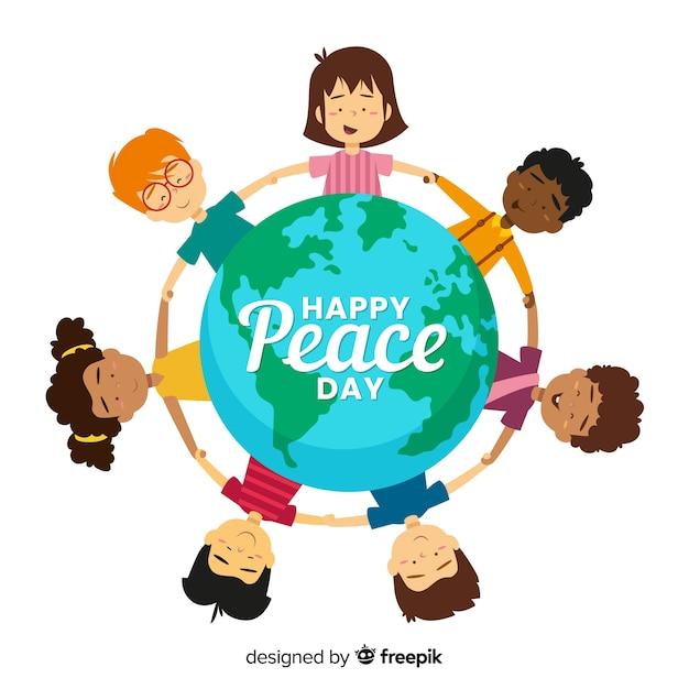 Jour de paix plat des enfants tenant par la main Vecteur gratuit