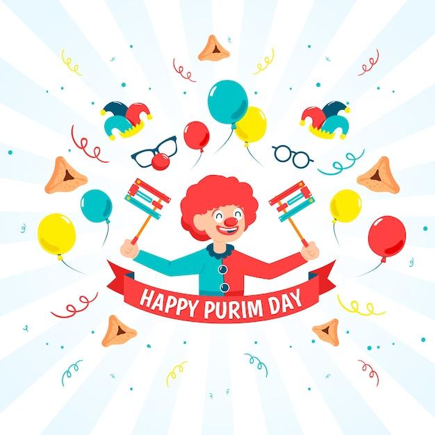 Jour De Pourim Design Plat Avec Clown Drôle Vecteur gratuit