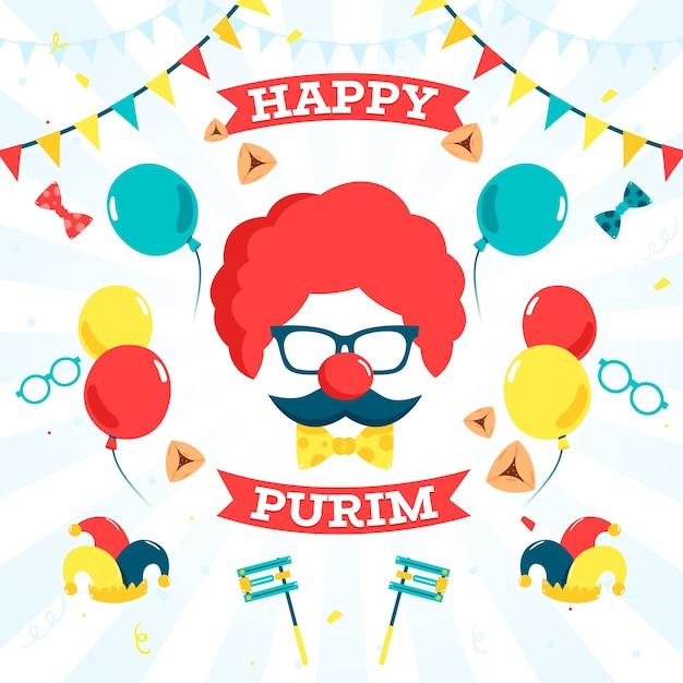Jour De Pourim Design Plat Avec Masque De Clown Et Ballons Vecteur gratuit