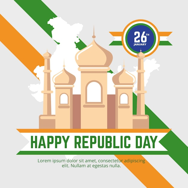 Jour De La République Indienne Design Plat Vecteur Premium