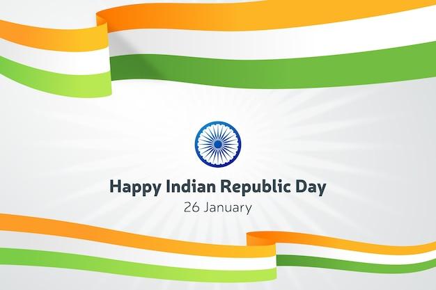 Jour De La République Indienne Plate Avec Des Rubans Vecteur gratuit