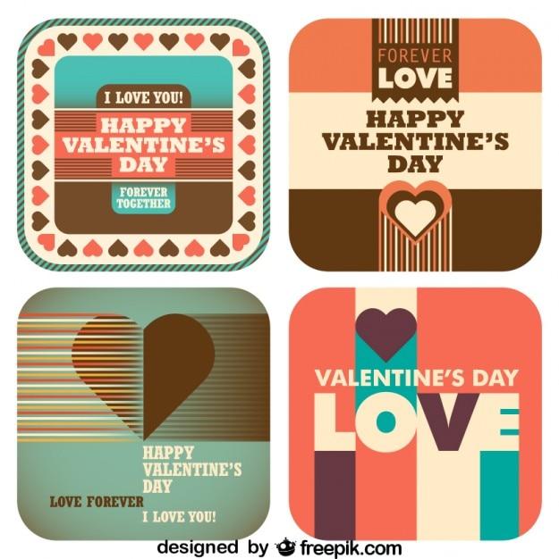 Jour rétro amour de valentine Vecteur gratuit