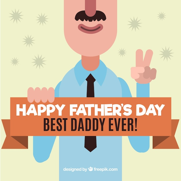 jour salutation de caractère drôle père Vecteur gratuit