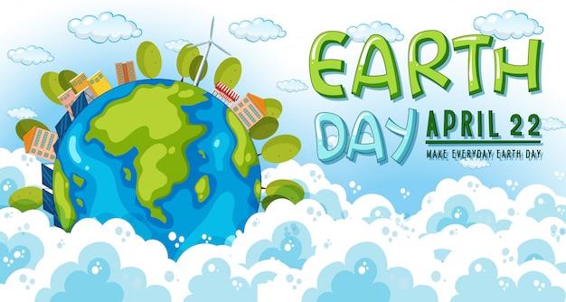 Jour de la terre, le 22 avril Vecteur gratuit