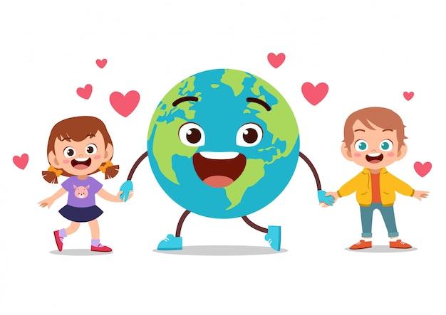 Jour De La Terre Des Enfants Vecteur Premium