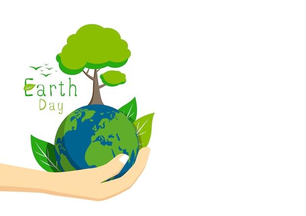 Jour de la terre sur fond blanc Vecteur Premium