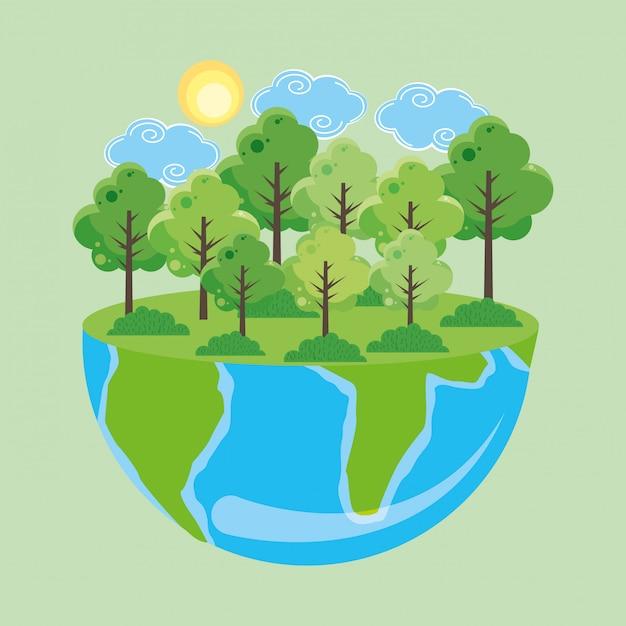 Jour de la terre avec forêt Vecteur Premium