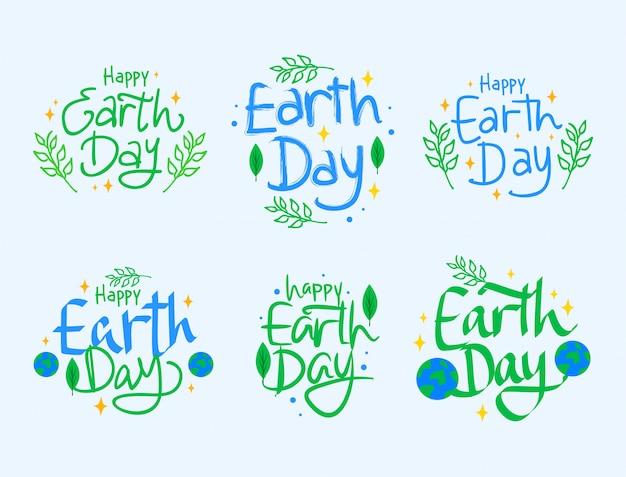 Jour de la terre heureux lettrage collection Vecteur Premium