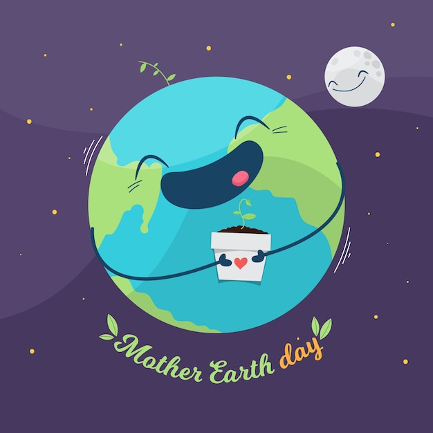 Jour De La Terre Mère Design Plat Avec Planète Heureuse Vecteur gratuit