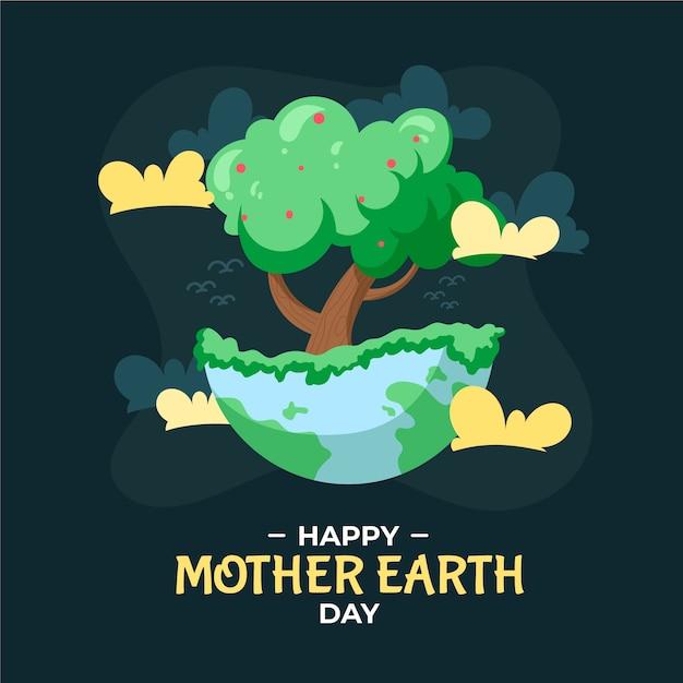 Jour De La Terre Mère Dessiné à La Main Avec Illustration D'arbre Vecteur gratuit