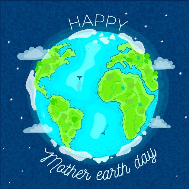 Jour De La Terre Mère Dessiné à La Main Vecteur gratuit