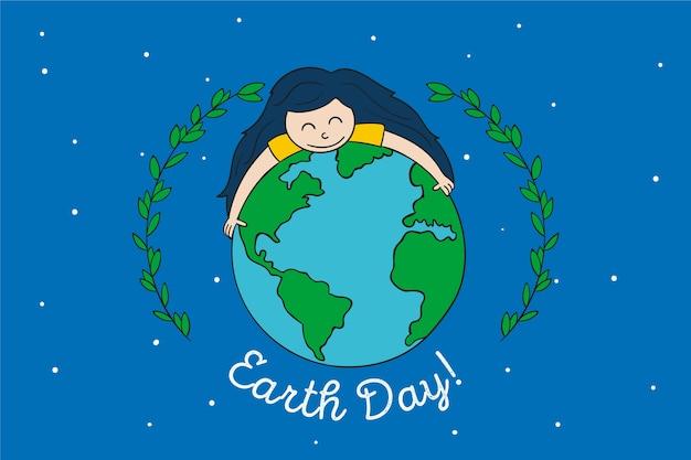 Jour De La Terre Mère Avec Fille Embrassant La Terre Vecteur gratuit