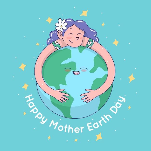 Jour De La Terre Mère Heureuse Dessiné à La Main Vecteur gratuit