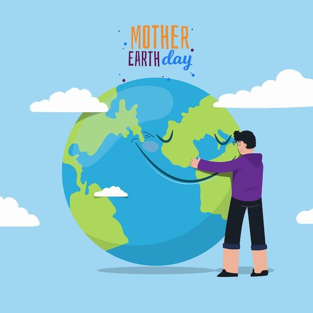 Jour De La Terre Mère Avec L'homme Embrassant La Planète Vecteur gratuit