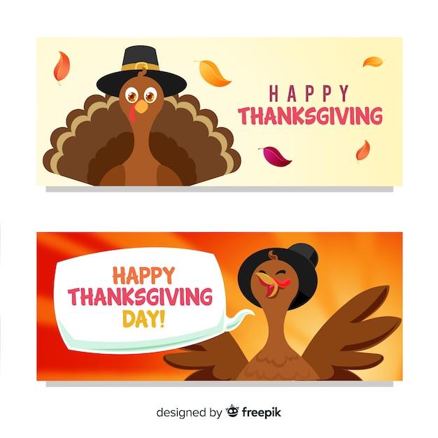 Jour de thanksgiving bannière de dinde Vecteur gratuit
