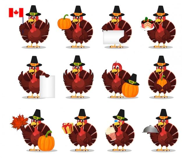 Jour de thanksgiving. dinde, set Vecteur Premium