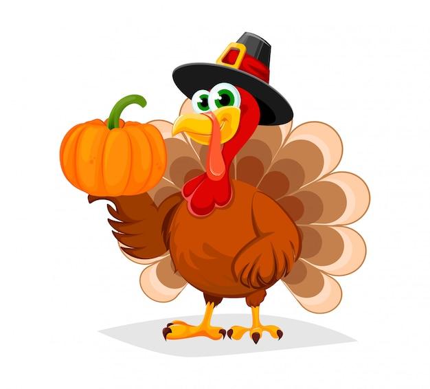 Jour De Thanksgiving. Turquie De Personnage De Dessin Animé Drôle Vecteur Premium
