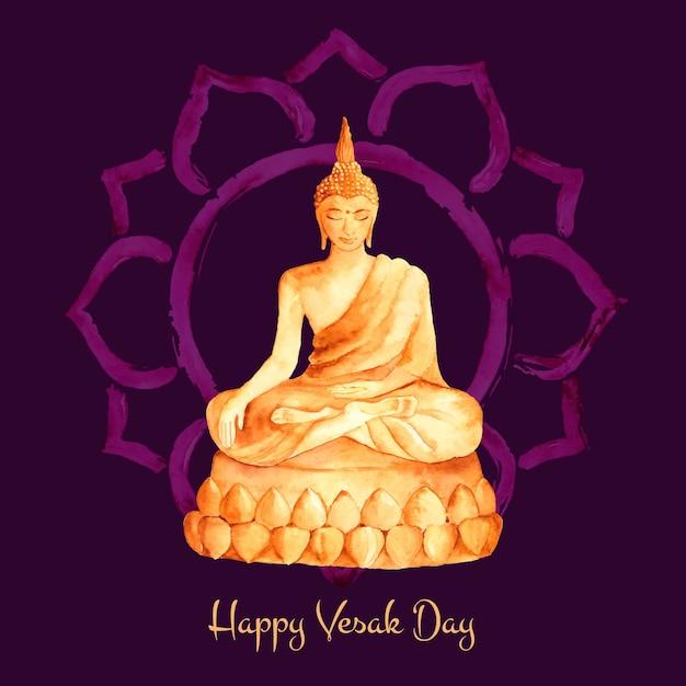 Jour De Vesak Aquarelle Avec Bouddha Vecteur gratuit