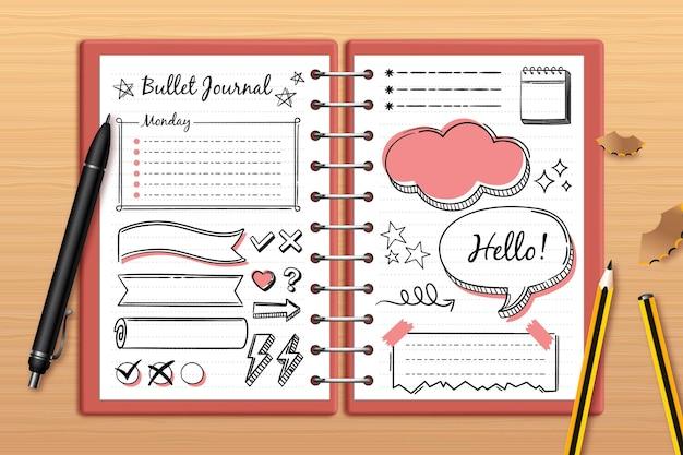 Journal De Balle Réaliste Avec Des Dessins De Griffonnage Vecteur gratuit