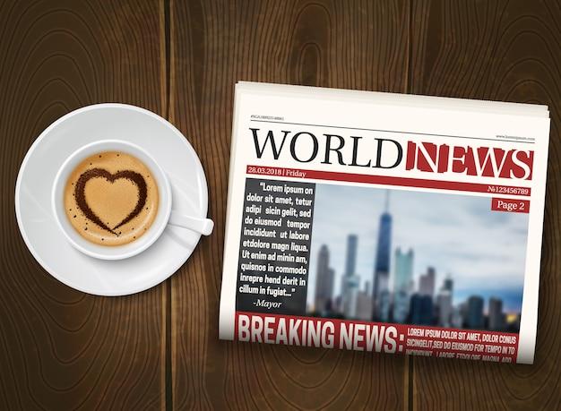 Journal du matin en bois Vecteur gratuit