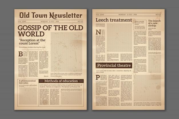 Journal Vintage. Articles De Presse Magazine De Papier Journal Ancien Design. Brochure Pages De Journaux. Modèle De Papier Journal Rétro Vecteur Grunge Vecteur Premium