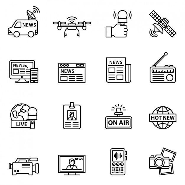 Journalisme et médias, jeu d'icônes de nouvelles. vecteur stock de style de ligne. Vecteur Premium