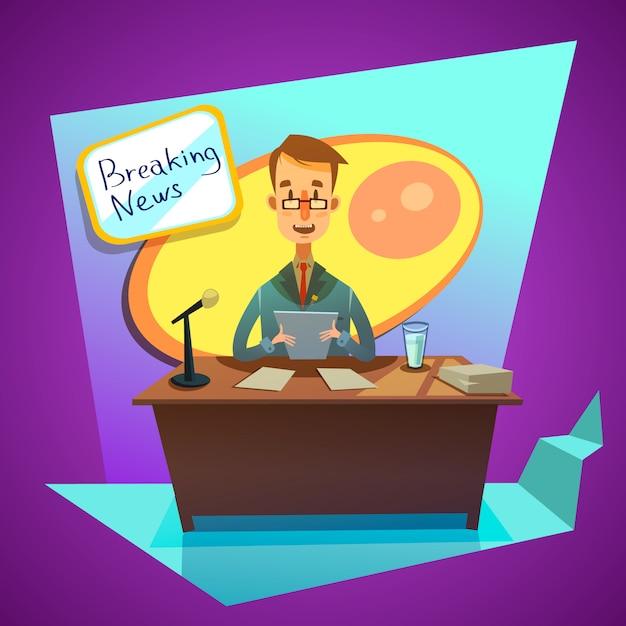 Un journaliste d'ancre dans un studio de télévision annonce des nouvelles de style cartoon rétro Vecteur gratuit