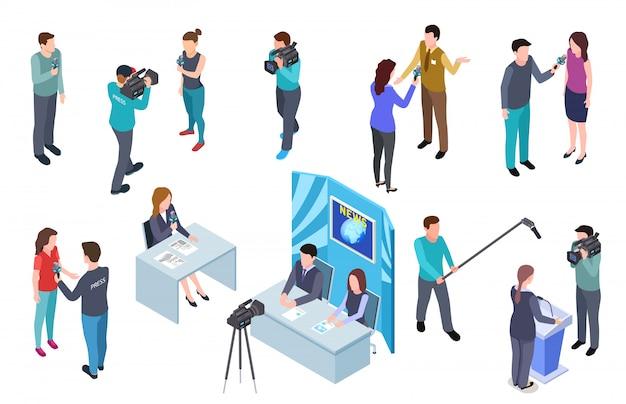 Journaliste Isométrique. Camera Man Tv Crew Crew Press News Broadcast Broadcast Journalistes Mass Media Broadcast Radio Interview Set Vecteur Premium