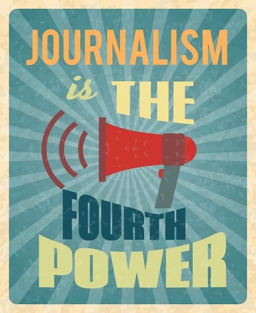 Journaliste Presse News Journaliste Profession Affiche Avec Mégaphone Rouge Et Texte Vecteur Premium