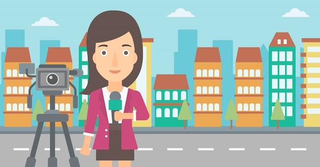 Journaliste De Télévision Travaillant. Vecteur Premium