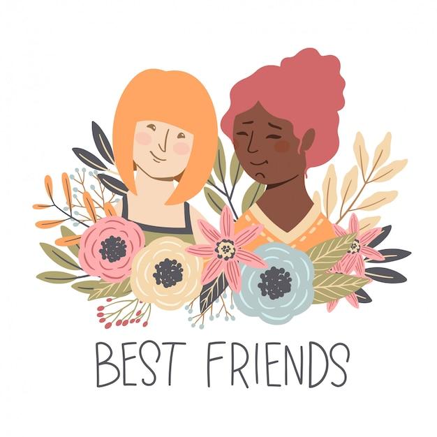 Journée De L'amitié Entre Filles Vecteur Premium