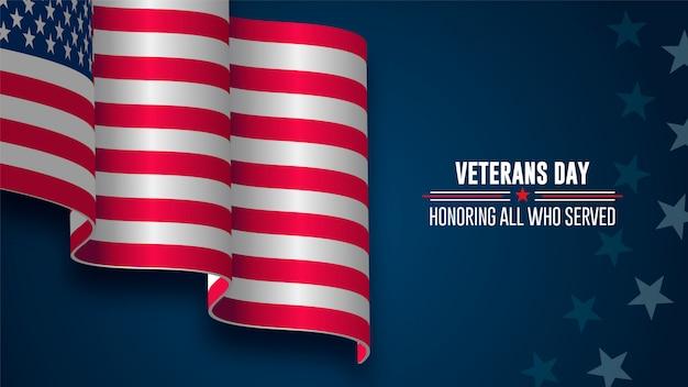 Journée des anciens combattants, le 11 novembre, drapeau des états-unis et hommage à tous ceux qui ont servi Vecteur Premium