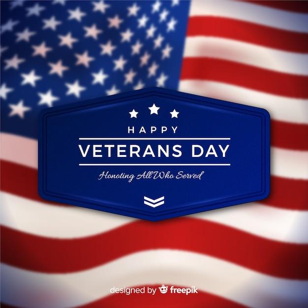 Journée des anciens combattants avec drapeau réaliste Vecteur gratuit