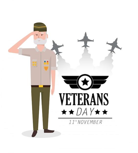 Journée des anciens combattants à la fête des policiers et des avions Vecteur Premium