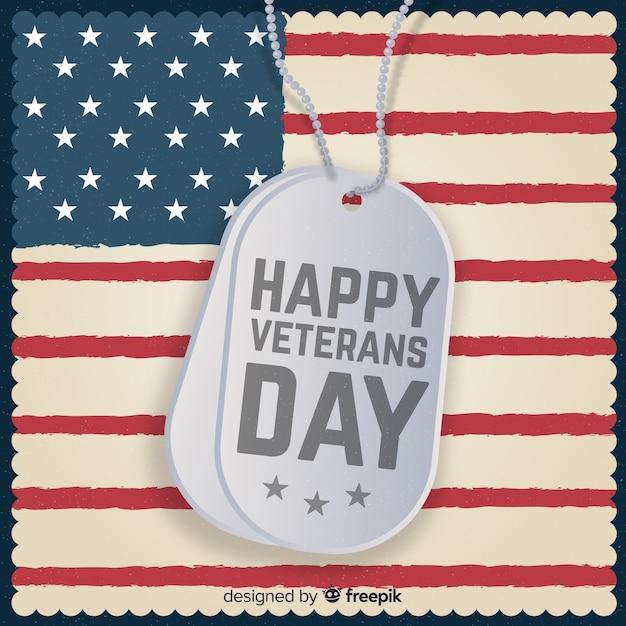 Journée des anciens combattants avec nous drapeau Vecteur gratuit