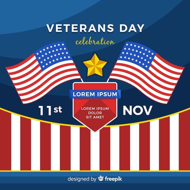 Journée des anciens combattants avec nous des éléments de drapeau Vecteur gratuit