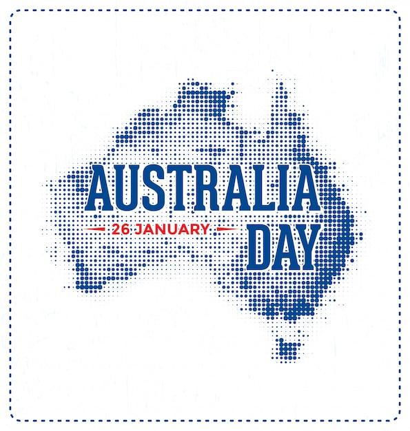 Journée australie - 26 janvier - création typographique avec demi-teintes Vecteur Premium