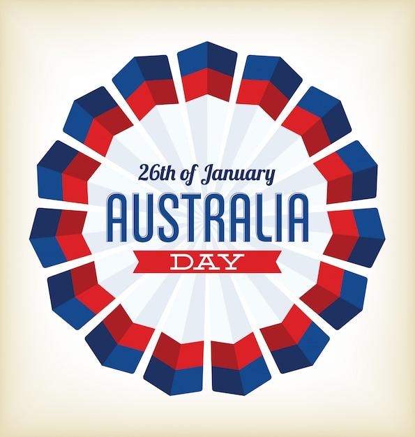 Journée australie - 26 janvier - design typographique aux couleurs nationales Vecteur Premium
