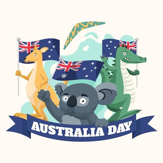 Journée De L'australie Avec Des Animaux Vecteur gratuit